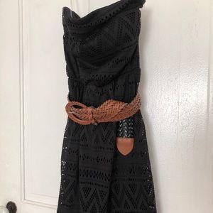 Strapless Black Lace Dress w/ belt